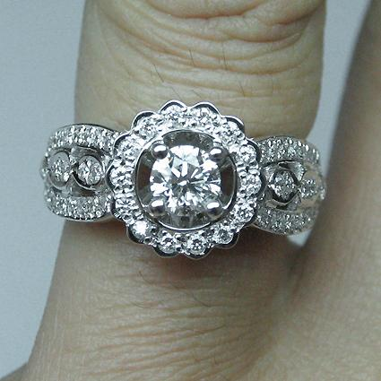 Platinum Flower Style Diamond Engagement Ring, Platinum - RN1504D-P