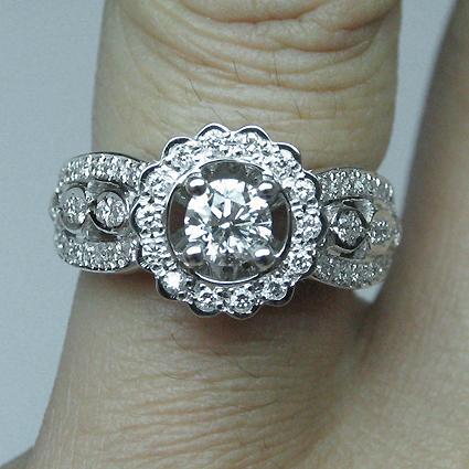 Platinum Flower Style Diamond Engagement Ring, Platinum - RN1504D-P