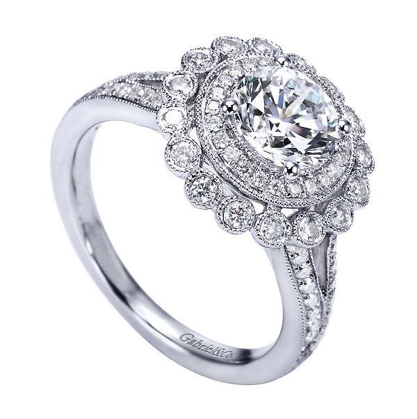 Antique Style Halo Engagement Ring Setting by Emma Parker & Co on