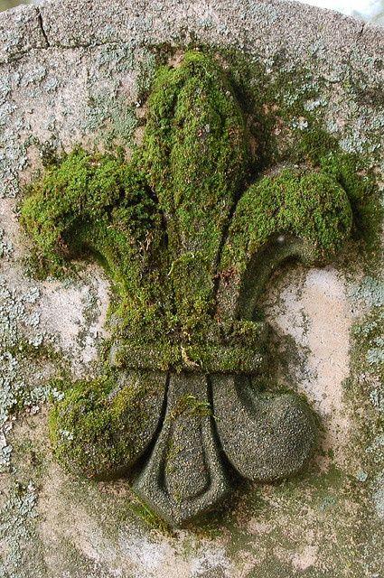 Moss-covered fleur de lis / Gardens