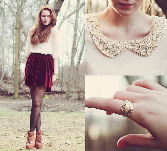 "Http://Chicwish.Com Blouse, American Apparel Skirt, Http://Boohoo.Com Shoes, Six Ring //""She was always like a feather.."" by Anna-Lena Laue // LOOKBOOK.nu"