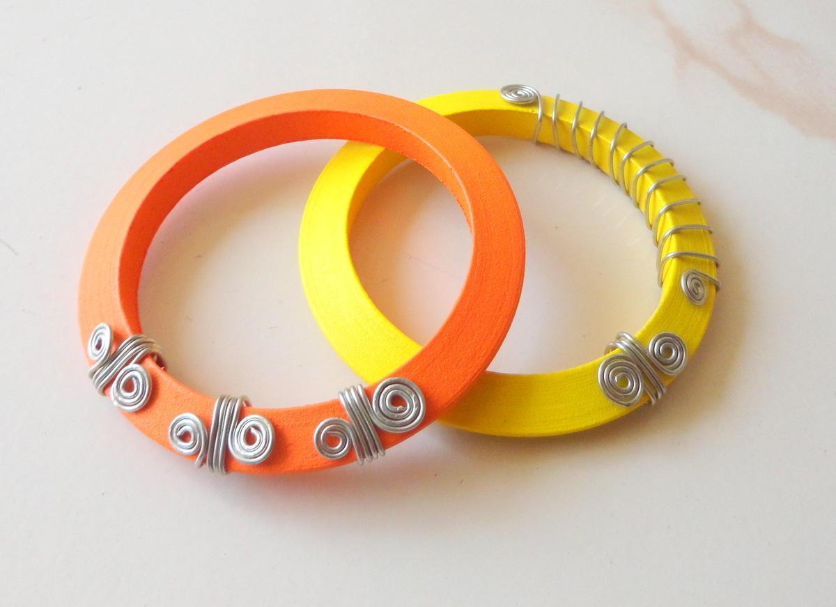 3mik.com - Wooden Bangles with wire work by Eesha Zaveri, Jewelry By Design at
