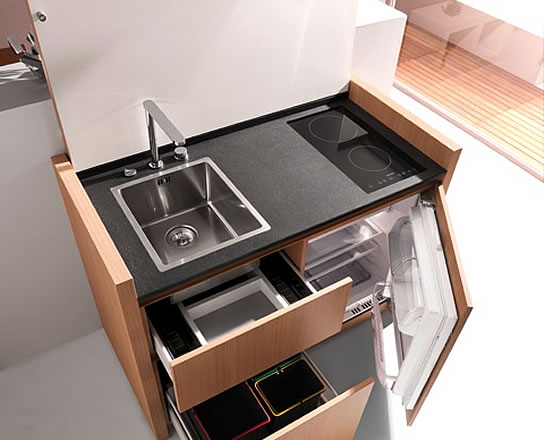 cuisine K1 | compact kitchens | mini cuisine | kitchenette | bespoke award-winning design | kitchoo