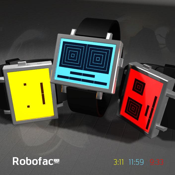 Roboface LCD watch winks the time at you. | Tokyoflash