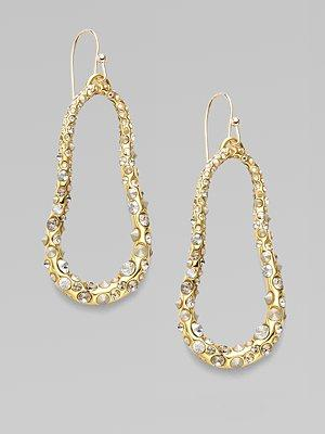 Alexis Bittar - Crystal-Encrusted Oval Loop Earrings/Gold - Saks.com