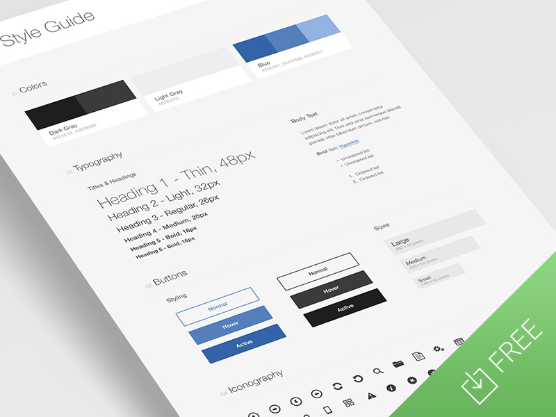 UI Style Guide Template by Tony Thomas