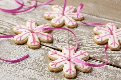 Snowflake shaped sugar cookies Stock Photo - Veer.com