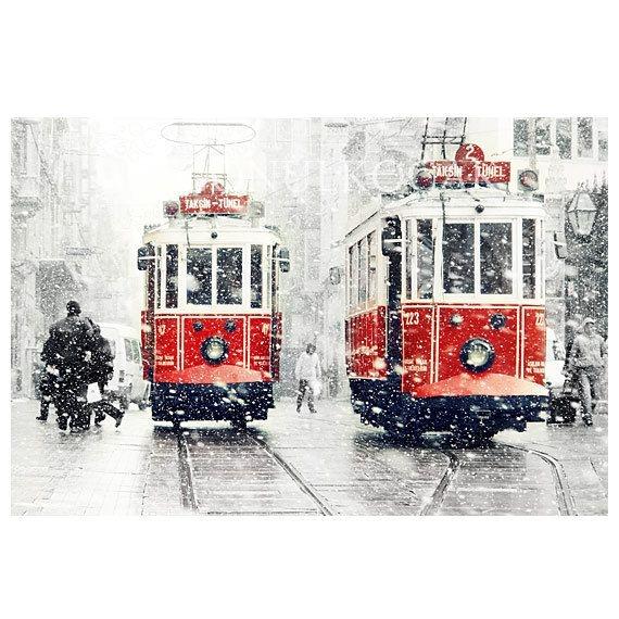 Wall decor - SALE Winter Photography, Tram photography, winter, snow photograph, istanbul, red tram, Art Print, 10x15, trains, christmas