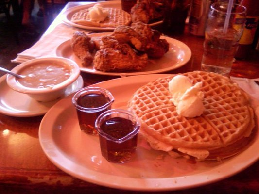 half chicken with 2 waffles, gravy on the side | Yelp