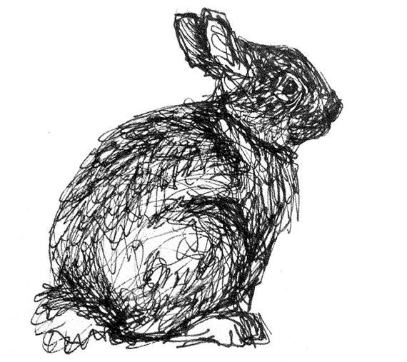 Bunny illustration, rabbit drawing, black and white art, original ink…
