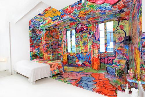 Panic Room: A half-graffitied hotel room in... | Architizer