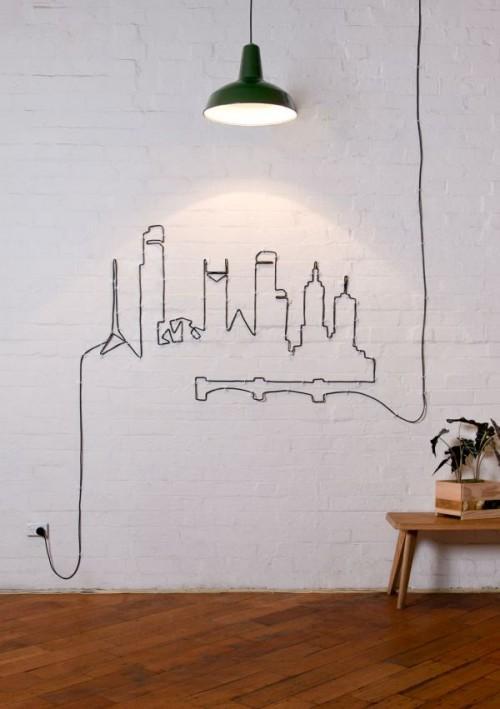Pourquoi cacher vos câbles et cordons lorsque vous pouvez les transformer en beau mur Art- / 9tiny.com