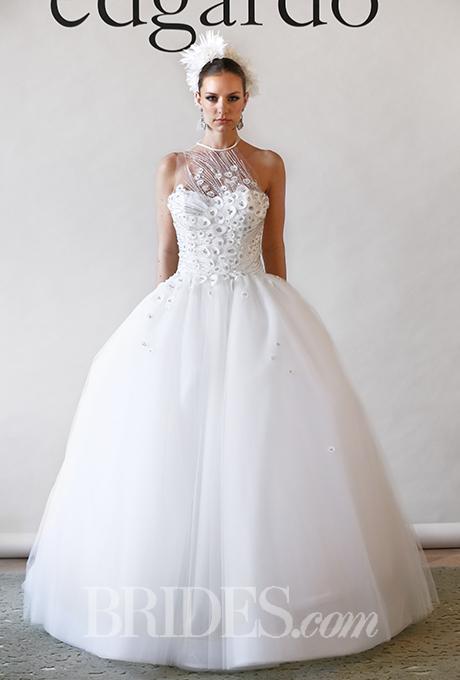 Edgardo Bonilla Fall 2017 Star Illusion Halter Neckline Ball Gown Wedding Dress With Beaded