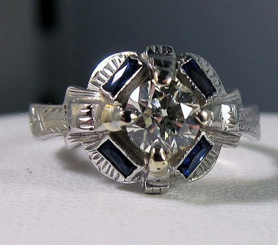 Antique 18k Art Deco Diamond and 4 Sapphire by BellaJewelryShop