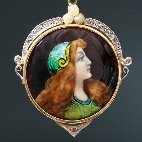 Pretty vintage Limoge enamel Gypsy woman by adinantiquejewellery