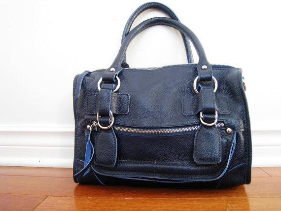 Leather bag clip on laptop messenger satchel purse by Adeleshop