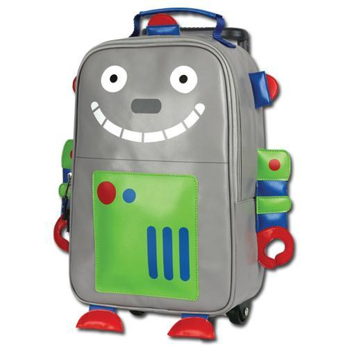 Urban Kids / Robot Rolling Backpack: Made of easy to clean vinyl with adjustable straps and a retractable handle. Measures 13 x 8.5 x 4