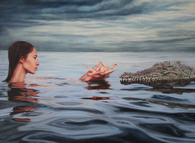 Origami Crane Oil Paintings by Ariel DeAndrea