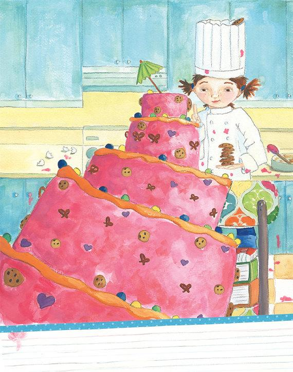 Little Girl Cake Baker Children's Illustration by AbbyDoraDesign