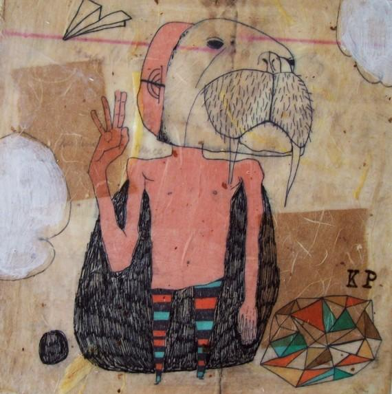 I Want to Be a Walrusmixed media print on wood by retrowhale
