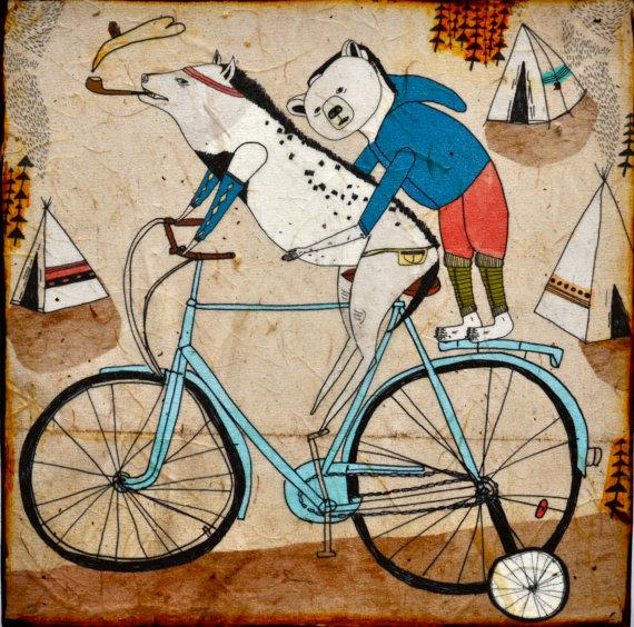 Training Wheels mixed media print on wood by retrowhale on Etsy