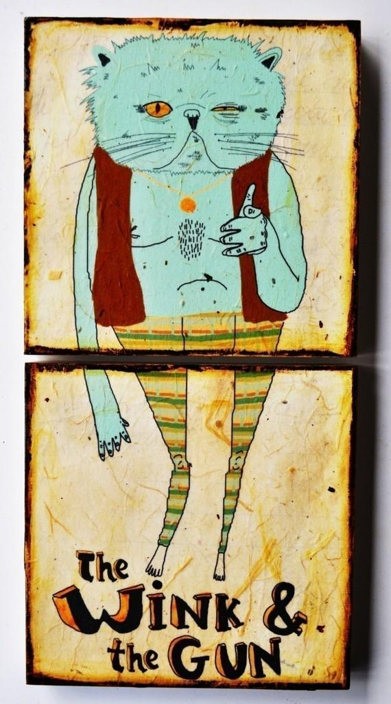 The Wink and The Gunmixed media prints on wood by retrowhale