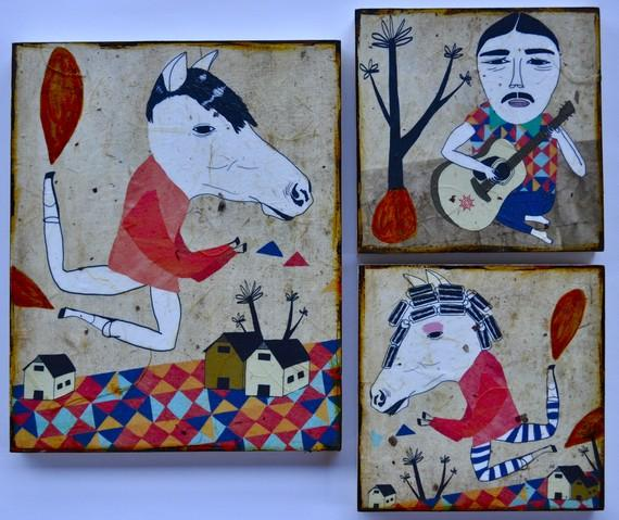 Odds and Evens set of 3 mixed media prints on wood by retrowhale