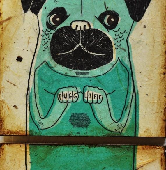 Pugg Lifemixed media print on wood panel by retrowhale on Etsy