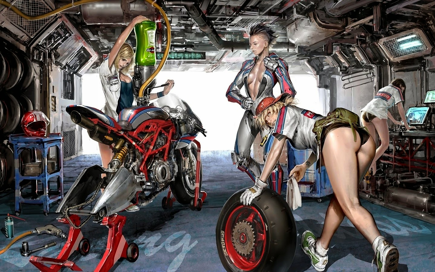 Mercenary+Garage+Dublin+Ireland+Custom+Motorcycle+Workshop+Martini+Racing+Workshop+Pit+Stop+Girls+Illustration+Sci+Fi+Art.jpg (1440×900)