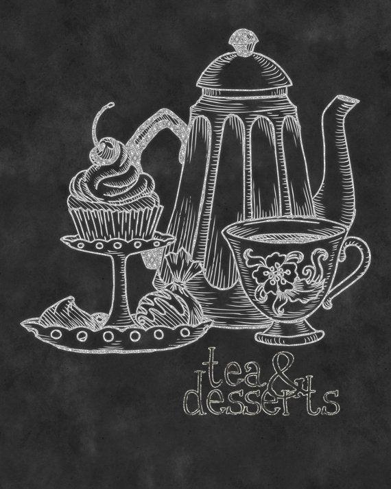Wall Art  Kitchen Chalkboard Print  Chalkboard Typography Tea U0026 Desserts  Print 8 X