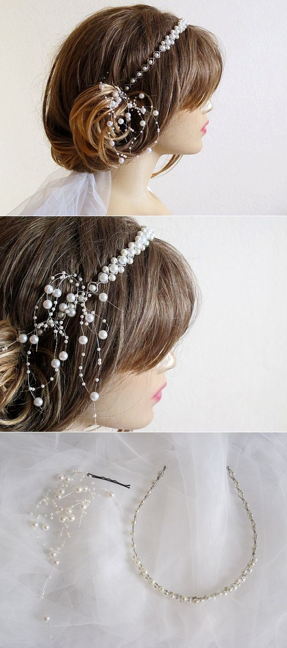 Wedding bridal headband ivory Pearl hairband wedddings by selenayy | wedding accessory | ???????