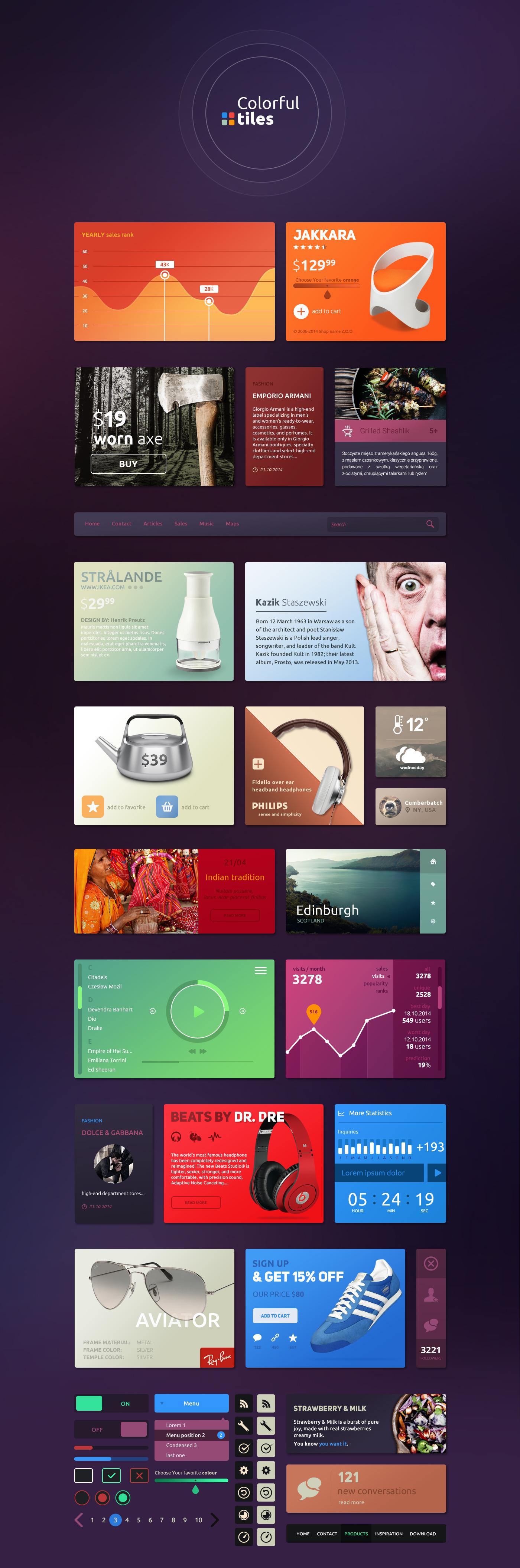 Colorful Tiles UI Kit | Craftwork – Thoroughly Handpicked UI Freebies