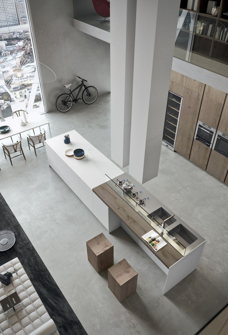Using natural, unpainted wood and neutral grays and whites, the design gives the impression of minimalism while still including plenty of features … | Pinterest