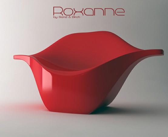 Favorite Color! / Roxanne: Pucker up! Soft version in polyurethan and fabric, hard version in varnished polyurethane.