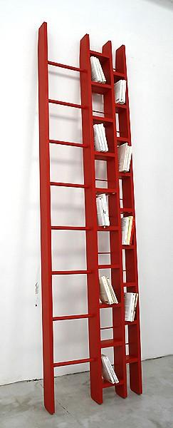 Favorite Color! / Ho Bookcase Ladder by Jocelyn Deris: Available in two sizes that can hold 200-400CDs or DVDs or 100-200 books with the ladder to reach them. Also comes in white.