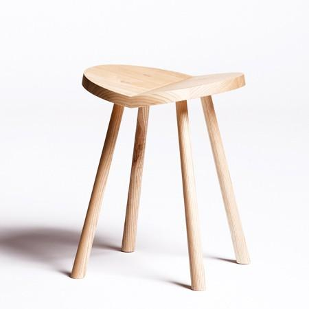 Simplicity / Ulrik Stool by Alex Hellum: Unassuming wooden stool beautifully executed in ash with a whimsical personality. From this angle it looks like a heart!