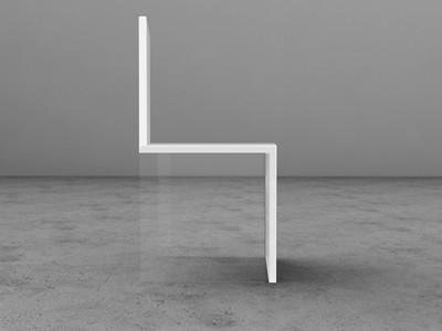 Simplicity / Magica2 Chair by David Conti who replaced two legs with plexiglass to create the illusion of an impossible balance. Also in black.
