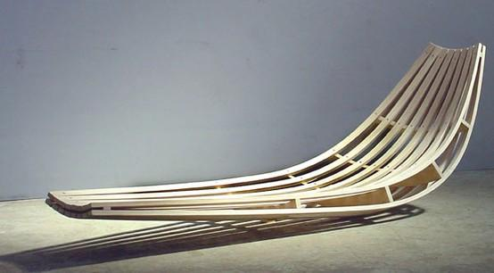 Rocking Chairs / Glide by David Trubridge: Rockiing recliner for indoor/outdoor use made of steam bent ash.