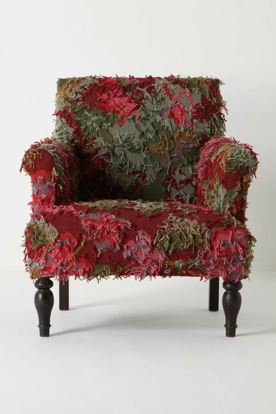 Chair / Reverse Rug Chair: Classic arm chair covered with shaggy roses from handwoven rug. Almost looks alive. $998 #Chair #Reverse_Rug_Chair