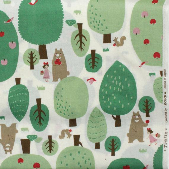 1 Yard Kokka Trefle Japanese fabric Forest Friends by FABITAT