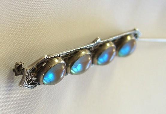 Thursday's Thrillers / Art Deco SAPHIRET Brooch / Sterling Silver Czech Jewelry / Early 1900s Gablonz Czechoslovakia