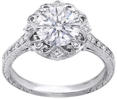 Engagement Ring - 14K White Gold Round Diamond Edwardian Vin... - Polyvore