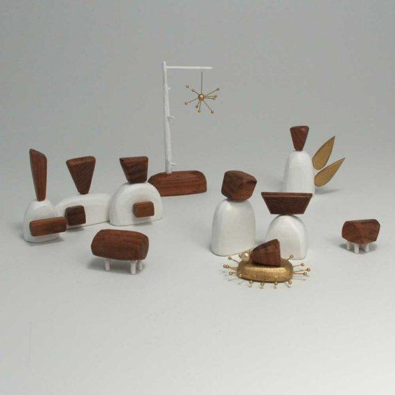 Nativity Set white and walnut by bunnywithatoolbelt on Etsy