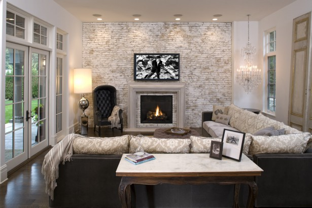 Family Room: Beautiful Colors For Family Rooms With Fireplace, Family Room Design Ideas, Natural Stone Fireplace ~ LouisasPorch.com