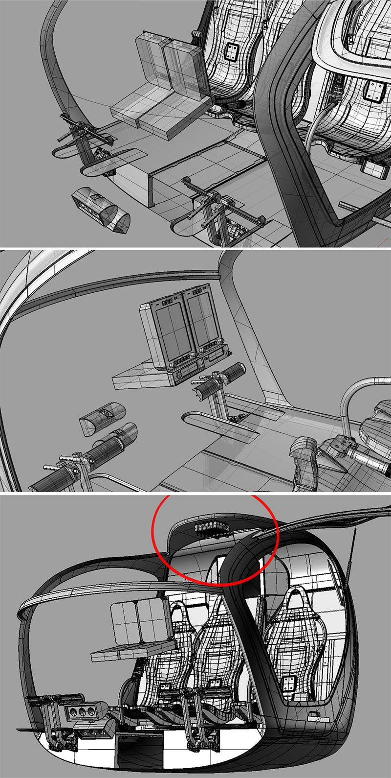 Create interior of the helicopter