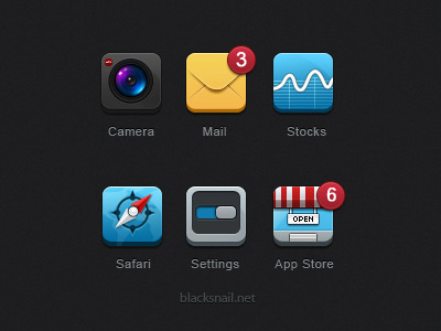 6 Icons For Iphone by Black Snail