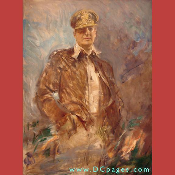 First Floor - Americans Now - Portrait painting of General of the Pacific Macarthur