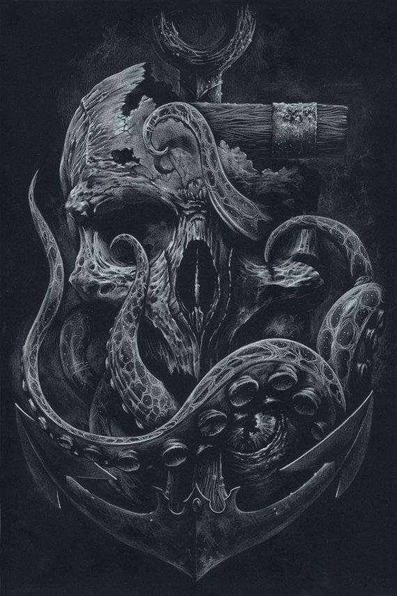 THE LOCKER Custom Print Octopus Skull Anchor Black by grabinkART on Inspirationde