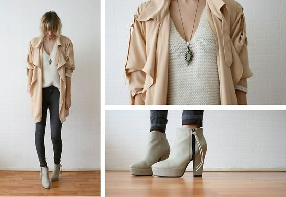 "Chicwish Trenchcoat, Zara Knitted Jumper, Regalrose Necklace, Nelly Shoes //""Nude trench."" by Sietske L // LOOKBOOK.nu"