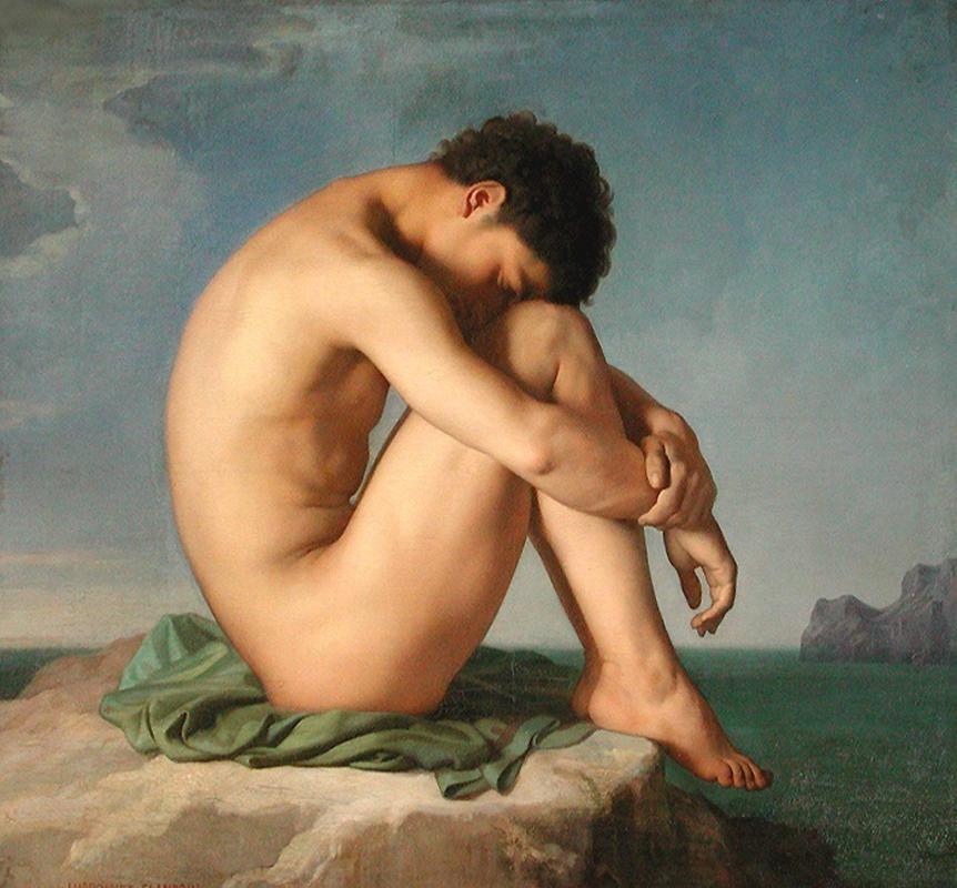 j-h-flandrin-1809-1864-jeune-homme-nu-assis-au_bord-de-la-mer.jpg (862×800)
